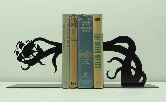 Tentacle Pirate Ship Attack Bookends - Geek Decor