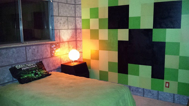 Minecraft dungeon bedroom torches and all geek decor for Minecraft kinderzimmer