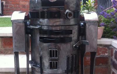 R2-D2 Wood Burner Front Closeup - Geek Decor