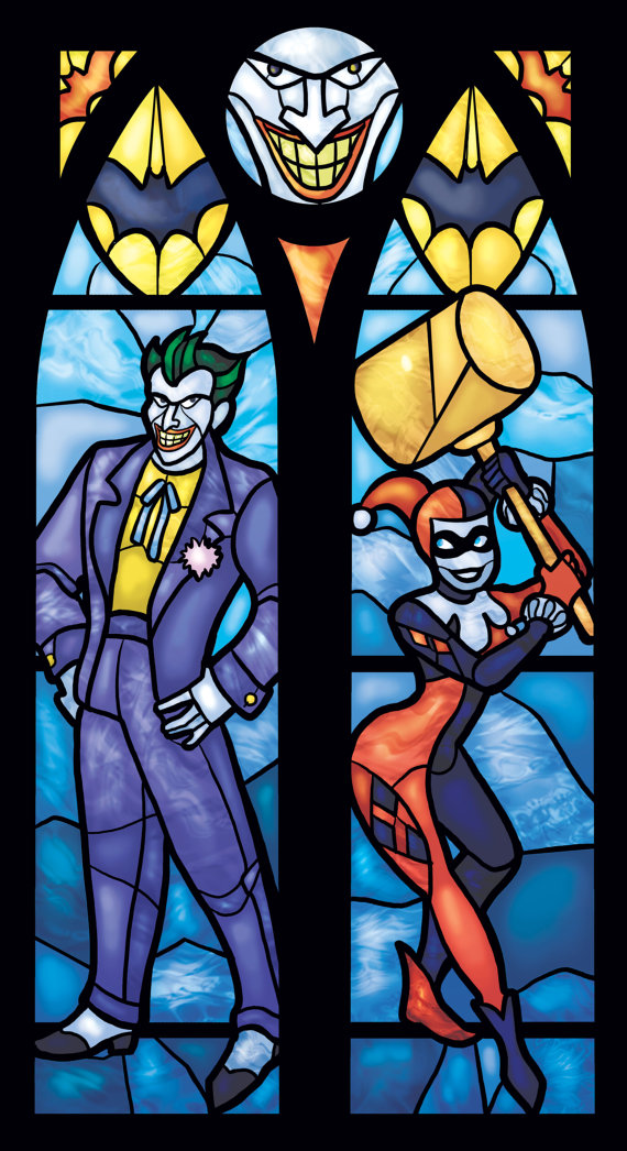 Harley Quinn And Joker Stained Glass Style Geek Decor