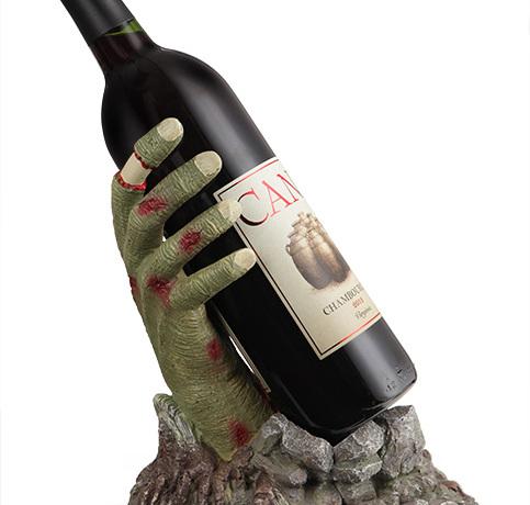 Zonbie Hand Wine Bottle Holder Closeup - Geek Decor