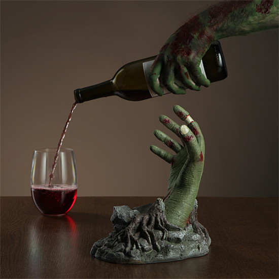 Zombie hand bottle holder for a romantic dinner geek decor for Zombie room decor