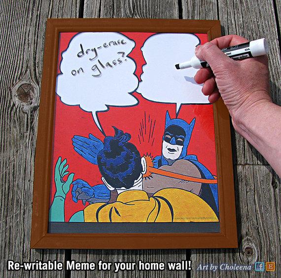 the batman slap meme mirror for your serious office geek decor. Black Bedroom Furniture Sets. Home Design Ideas