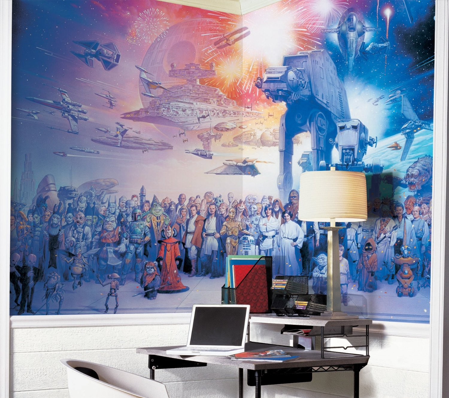 Geek out over the star wars saga wall mural geek decor for Character mural