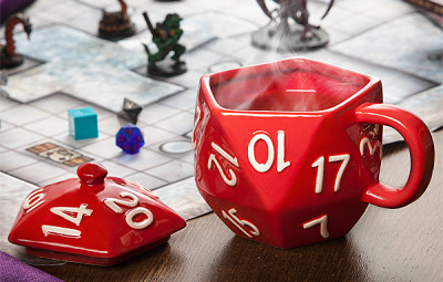 D20 Mug In Use During Game, Without A Coaster - Geek Decor